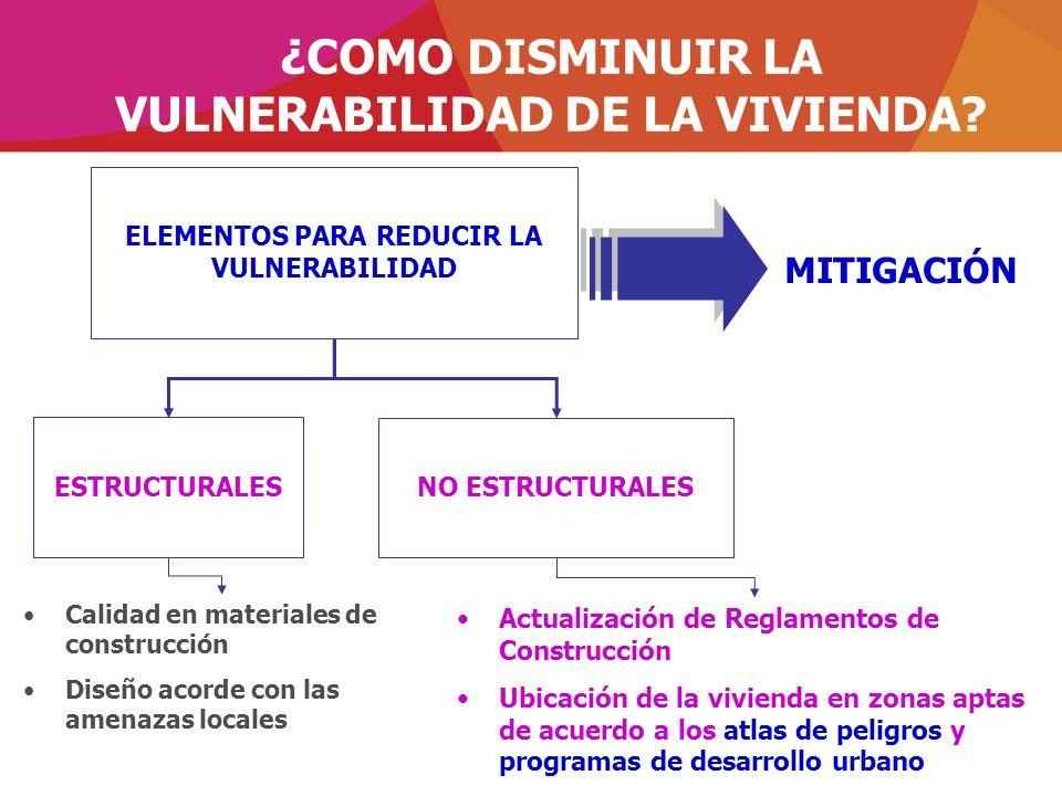 ¿COMO DISMINUIR LA VULNERABILIDAD DE LA VIVIENDA? ELEMENTOS PARA REDUCIR LA VULNERABILIDAD MITIGACIÓN ESTRUCTURALES NO ESTRUCTURALES Actualización de