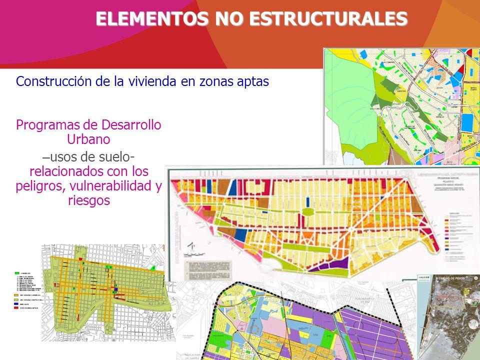 ELEMENTOS NO ESTRUCTURALES Programas de Desarrollo Urbano – usos de suelo- relacionados con los peligros, vulnerabilidad y riesgos Construcci ó n de l