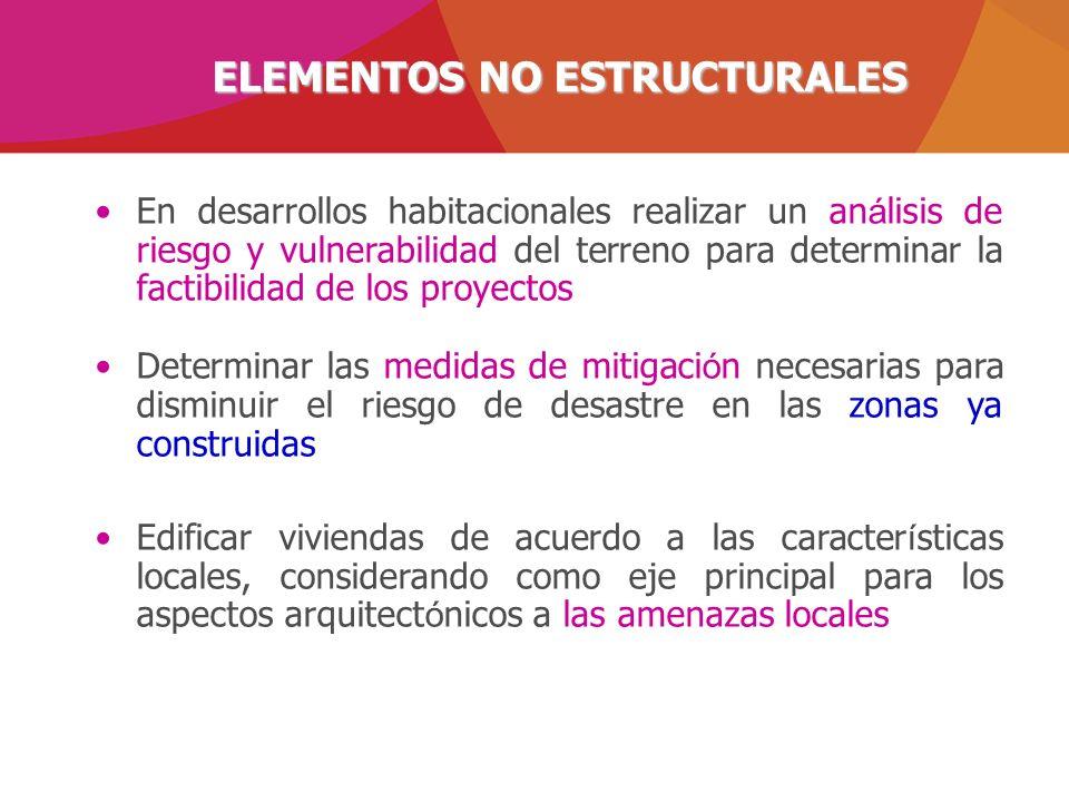 ELEMENTOS NO ESTRUCTURALES En desarrollos habitacionales realizar un an á lisis de riesgo y vulnerabilidad del terreno para determinar la factibilidad