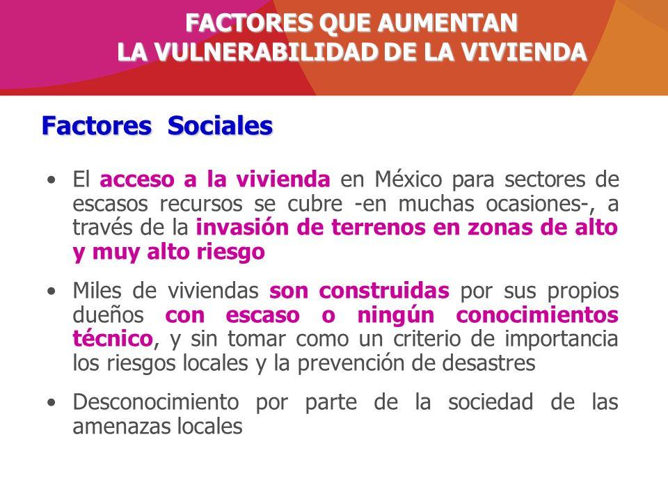 Factores Sociales El acceso a la vivienda en México para sectores de escasos recursos se cubre -en muchas ocasiones-, a través de la invasión de terre