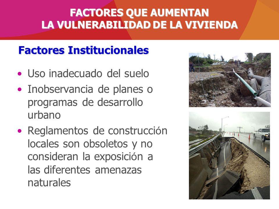 Uso inadecuado del suelo Inobservancia de planes o programas de desarrollo urbano Reglamentos de construcci ó n locales son obsoletos y no consideran