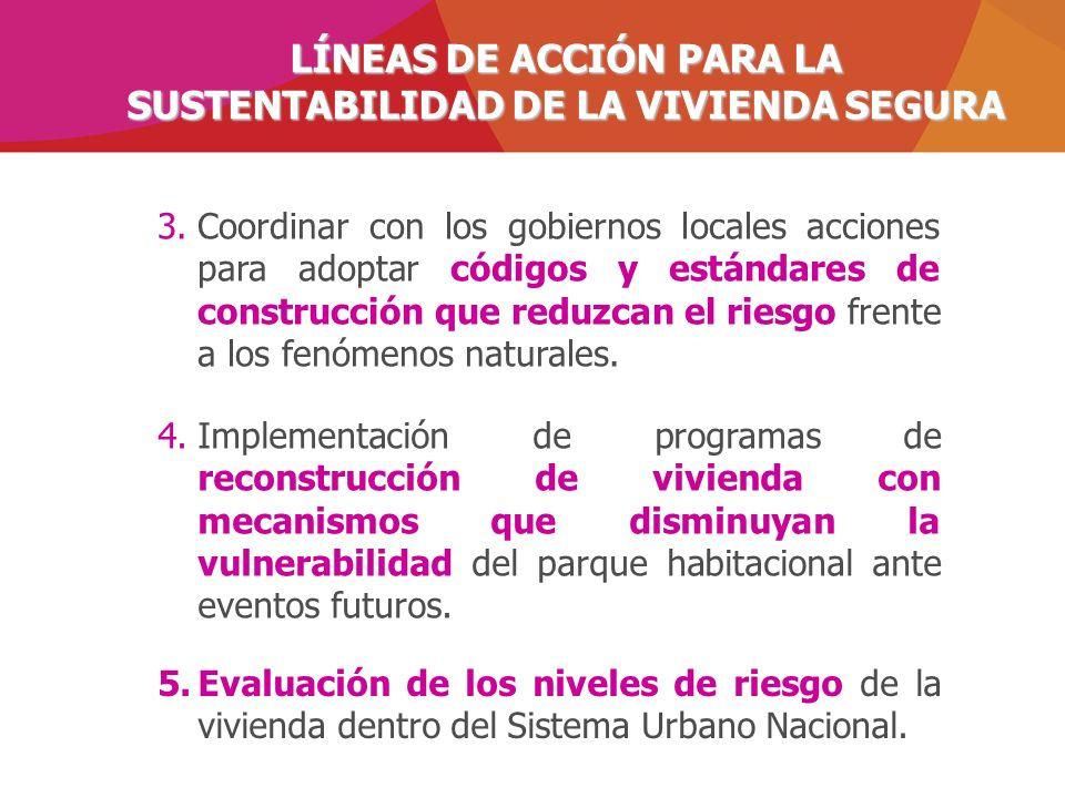 LÍNEAS DE ACCIÓN PARA LA SUSTENTABILIDAD DE LA VIVIENDA SEGURA 4.Implementación de programas de reconstrucción de vivienda con mecanismos que disminuy
