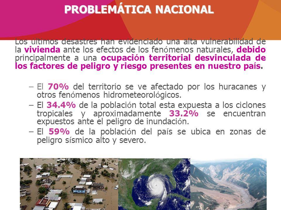 Los ú ltimos desastres han evidenciado una alta vulnerabilidad de la vivienda ante los efectos de los fen ó menos naturales, debido principalmente a u