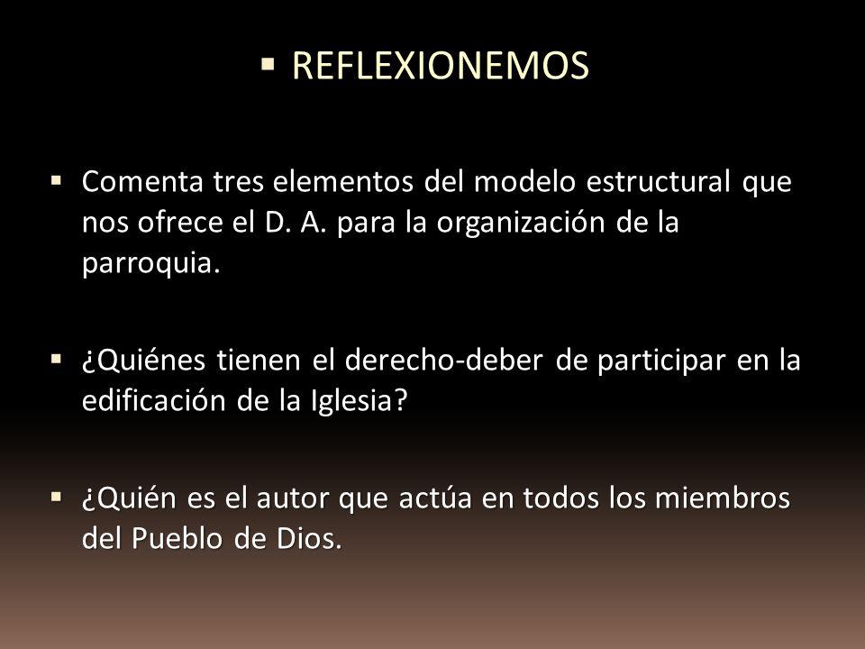 Comenta tres elementos del modelo estructural que nos ofrece el D. A. para la organización de la parroquia. Comenta tres elementos del modelo estructu