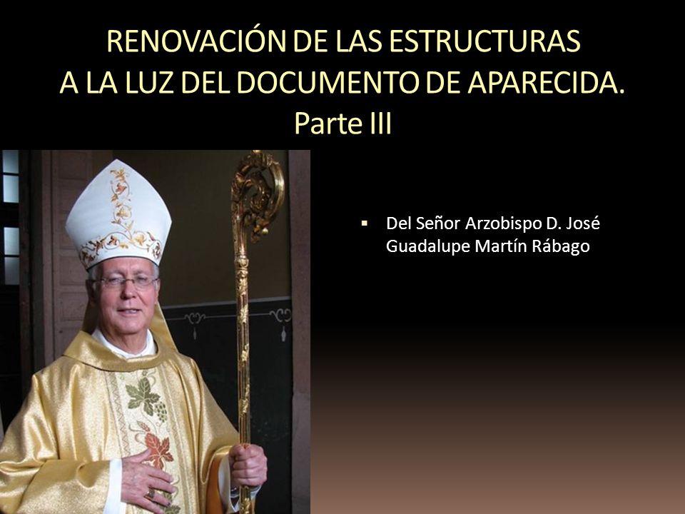 RENOVACIÓN DE LAS ESTRUCTURAS A LA LUZ DEL DOCUMENTO DE APARECIDA. Parte III Del Señor Arzobispo D. José Guadalupe Martín Rábago