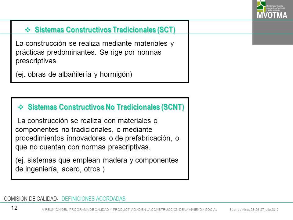 V REUNIÓN DEL PROGRAMA DE CALIDAD Y PRODUCTIVIDAD EN LA CONSTRUCCION DE LA VIVIENDA SOCIAL Buenos Aires 25-26-27 julio 2012 13
