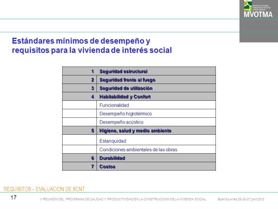 Estándares mínimos de desempeño y requisitos para la vivienda de interés social 01- 1 Normas y documentos de referencia 01- 3 Método de verificación 01- 5 Recomendaciones 01- 4 Cálculos y Ensayos 01 - 2 Niveles de desempeño REQUISITOS CRITERIOS REQUISITOS – EVALUACION DE SCNT V REUNIÓN DEL PROGRAMA DE CALIDAD Y PRODUCTIVIDAD EN LA CONSTRUCCION DE LA VIVIENDA SOCIAL Buenos Aires 25-26-27 julio 2012 18