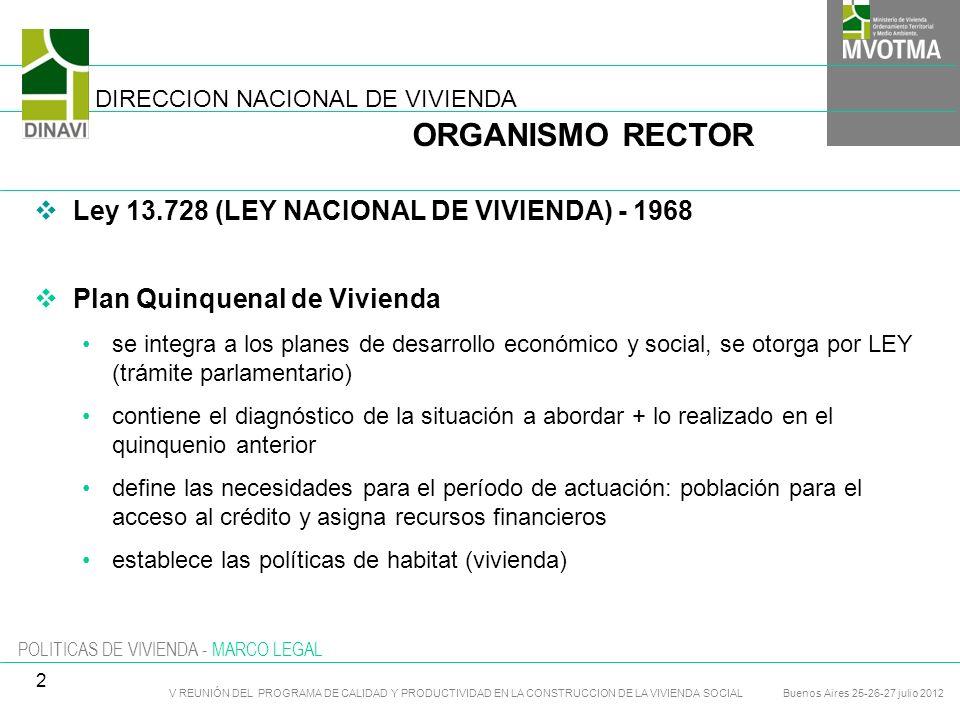 POLITICAS DE VIVIENDA - MARCO LEGAL Ley 13.728 (LEY NACIONAL DE VIVIENDA) - 1968 Plan Quinquenal de Vivienda se integra a los planes de desarrollo eco