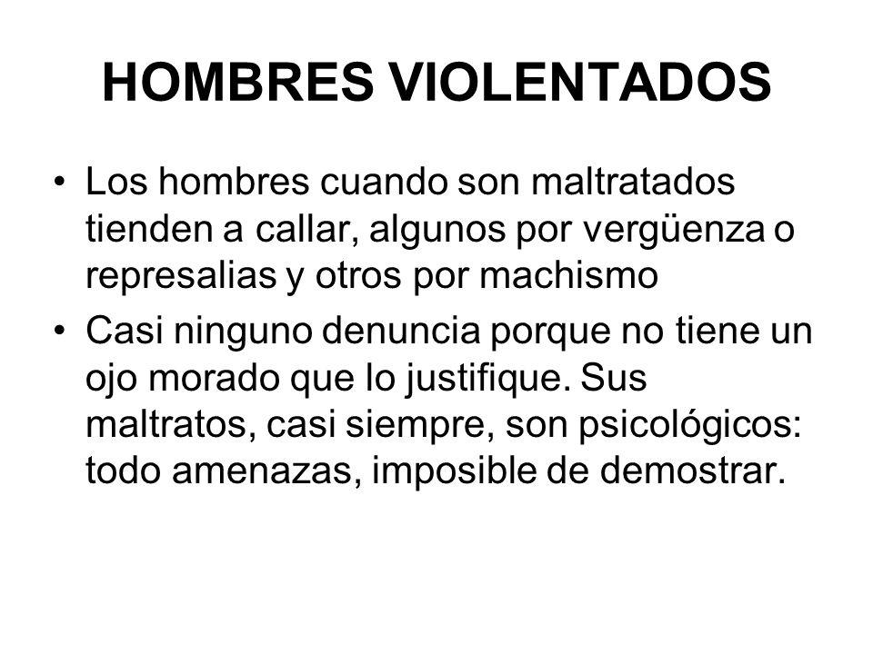 HOMBRES VIOLENTADOS Los hombres cuando son maltratados tienden a callar, algunos por vergüenza o represalias y otros por machismo Casi ninguno denunci