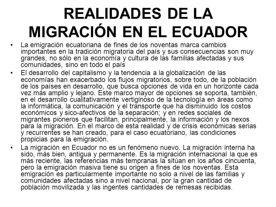 CARACTERÍSTICAS DE LA MIGRACIÓN ECUATORIANA En primer lugar, la emigración es masiva, y, como tal, ocurre a partir de la crisis económica de Ecuador, a fines de los noventas.
