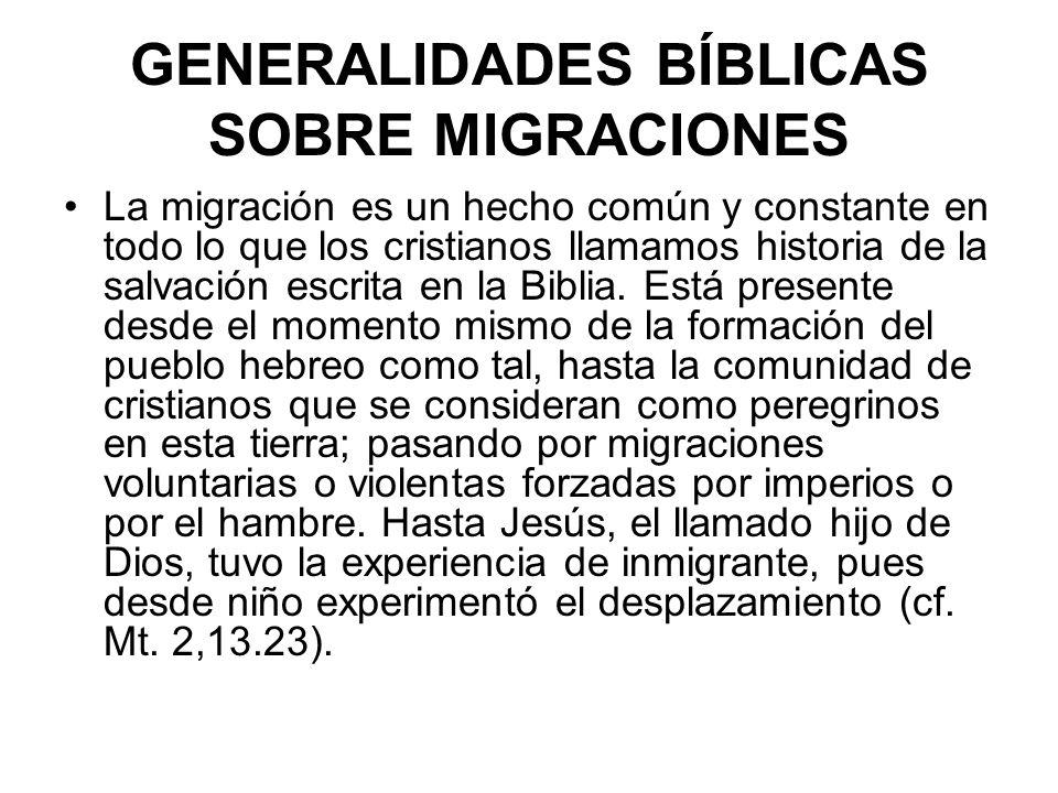 MIGRACIÓN Y LLAMADO En la Biblia hay migraciones por llamado de Dios El caso más conocido es el de Abraham Génesis 12: 1-5 Dios había dicho a Abraham (12:1) La migración implica dejar la tierra, la familia e irse a otro lugar sufriendo una especie de desarraigo (12:1) Dios tenía un plan muy grande con este hombre…le dio la orden de migrar a la edad de 75 años (12:4) En este caso hay que estar muy seguro de que Dios es quien llama y no el Dios dinero, el Dios materialismo, el Dios status.