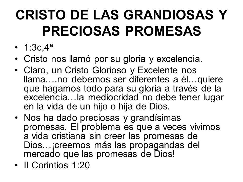 CRISTO QUE NOS HACE PARTÍCIPES DE SU NATURALEZA DIVINA 1:4c Creyendo en las promesas de Dios llegamos a participar de su naturaleza divina.