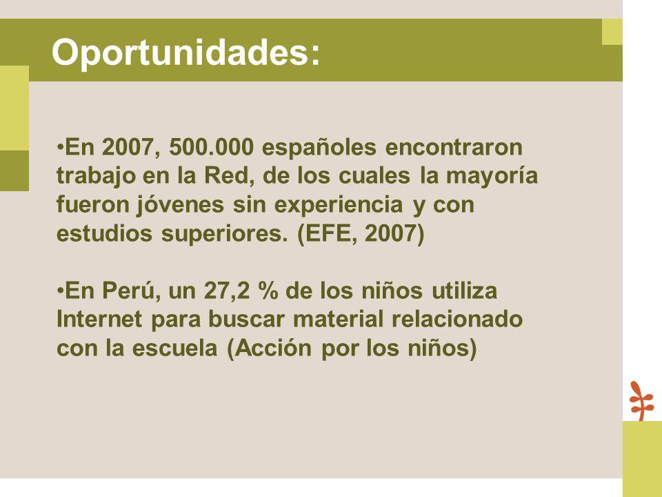 En 2007, 500.000 españoles encontraron trabajo en la Red, de los cuales la mayoría fueron jóvenes sin experiencia y con estudios superiores. (EFE, 200