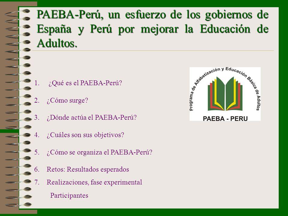 PAEBA-Perú, un esfuerzo de los gobiernos de España y Perú por mejorar la Educación de Adultos. 1.¿Qué es el PAEBA-Perú? 2. ¿Cómo surge? 3. ¿Dónde actú