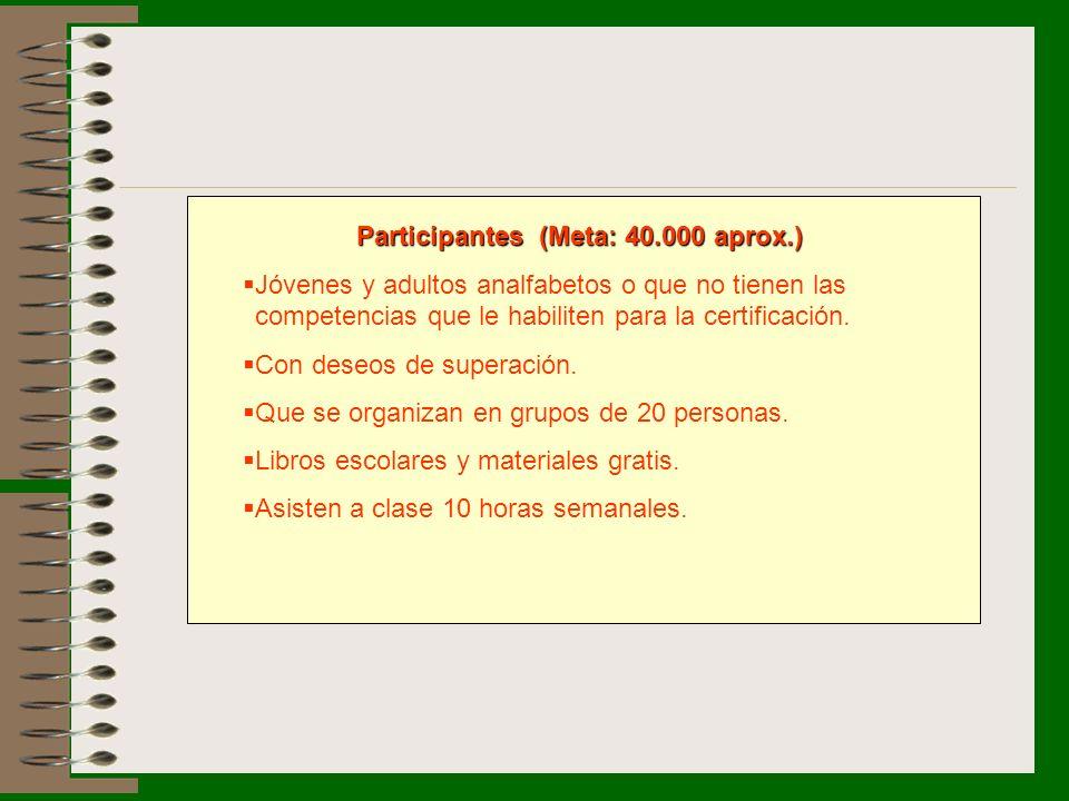 Participantes (Meta: 40.000 aprox.) Jóvenes y adultos analfabetos o que no tienen las competencias que le habiliten para la certificación. Con deseos