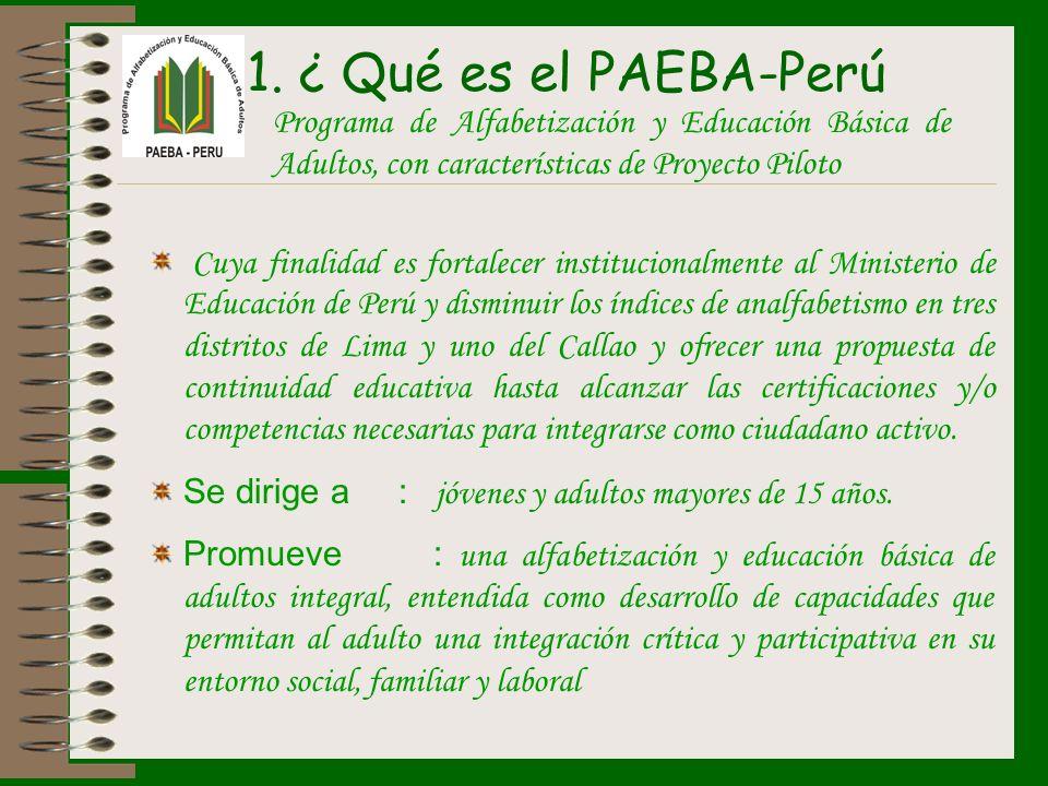 Cuya finalidad es fortalecer institucionalmente al Ministerio de Educación de Perú y disminuir los índices de analfabetismo en tres distritos de Lima