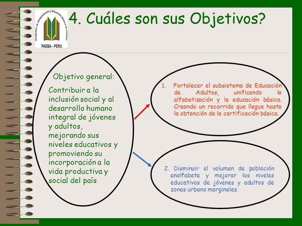 4. Cuáles son sus Objetivos? Objetivo general: Contribuir a la inclusión social y al desarrollo humano integral de jóvenes y adultos, mejorando sus ni