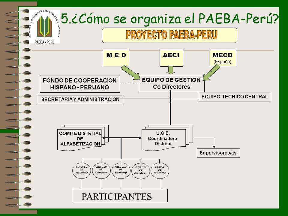 5.¿Cómo se organiza el PAEBA-Perú? M E D AECIMECD (España) EQUIPO DE GESTION Co Directores FONDO DE COOPERACION HISPANO - PERUANO EQUIPO TECNICO CENTR