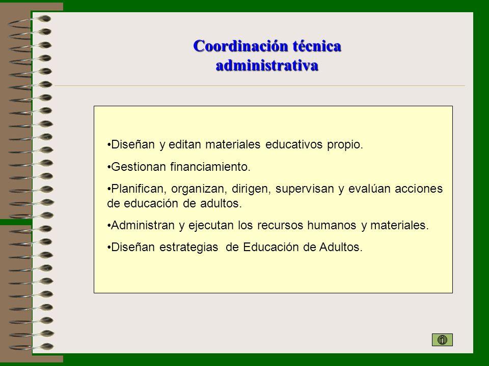 Coordinación técnica administrativa Diseñan y editan materiales educativos propio. Gestionan financiamiento. Planifican, organizan, dirigen, supervisa