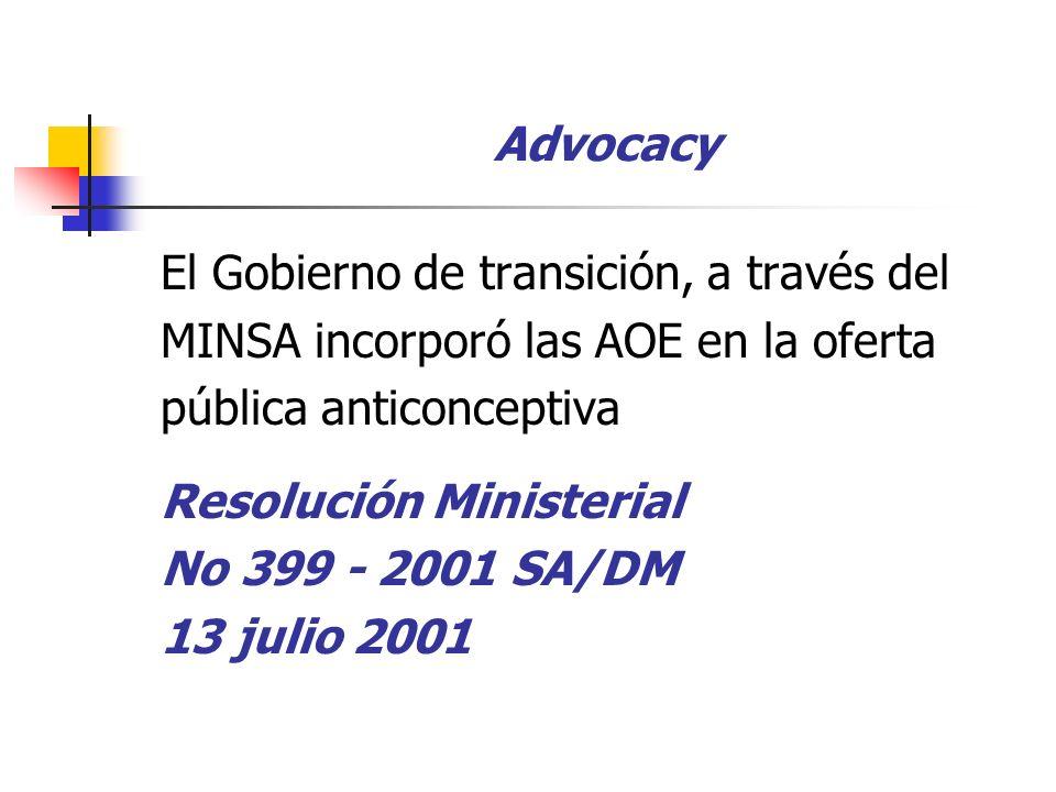 Advocacy El Gobierno de transición, a través del MINSA incorporó las AOE en la oferta pública anticonceptiva Resolución Ministerial No 399 - 2001 SA/DM 13 julio 2001