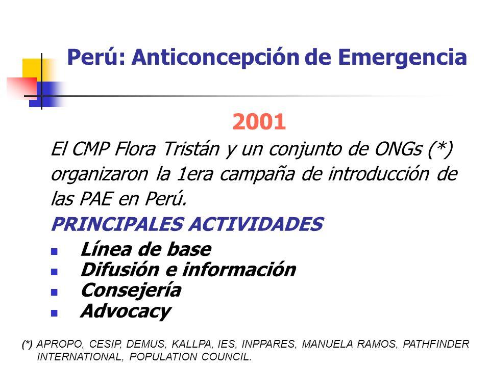 Perú: Anticoncepción de Emergencia 2001 El CMP Flora Tristán y un conjunto de ONGs (*) organizaron la 1era campaña de introducción de las PAE en Perú.