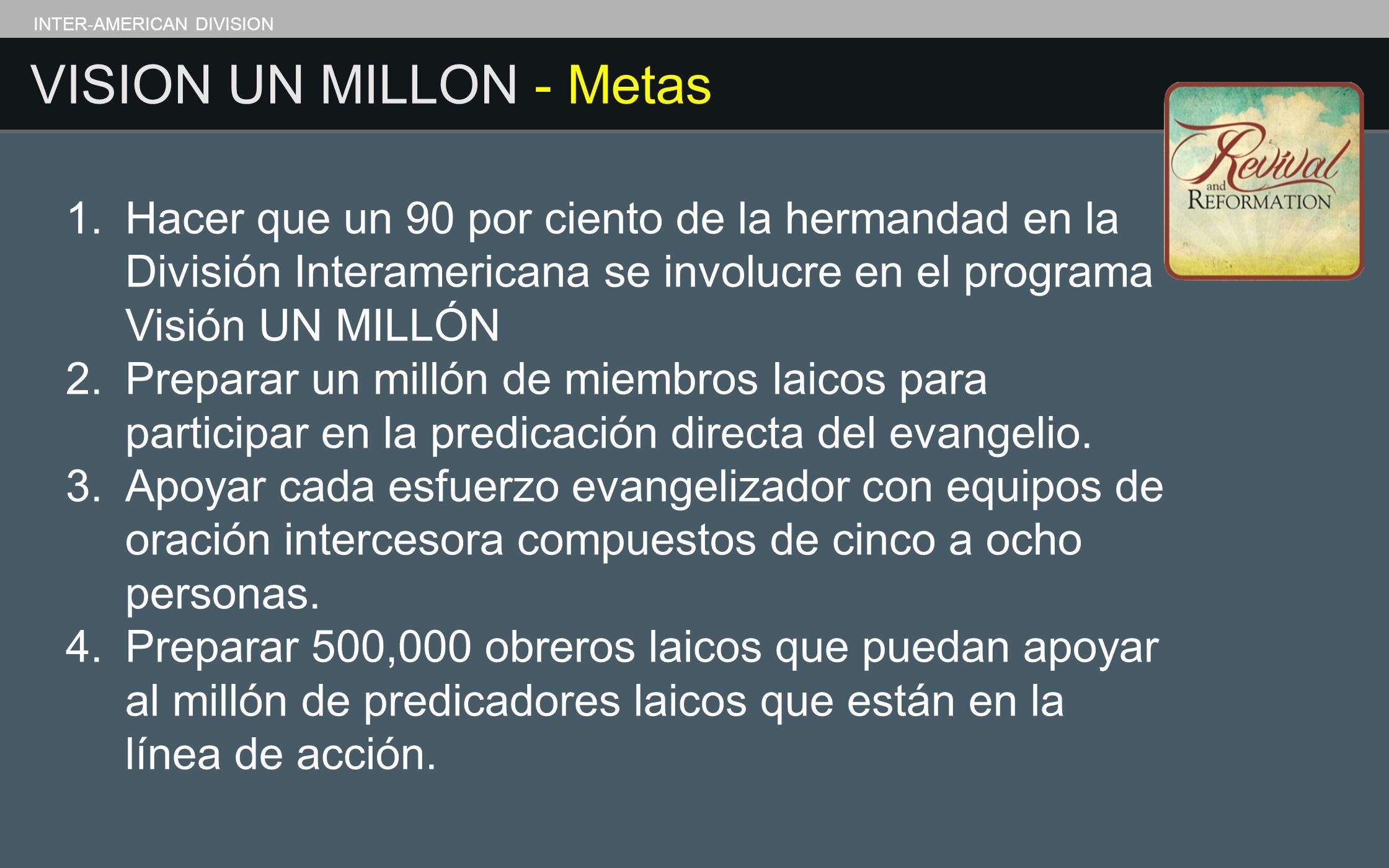 INTER-AMERICAN DIVISION VISION UN MILLON - Metas 1. Hacer que un 90 por ciento de la hermandad en la División Interamericana se involucre en el progra