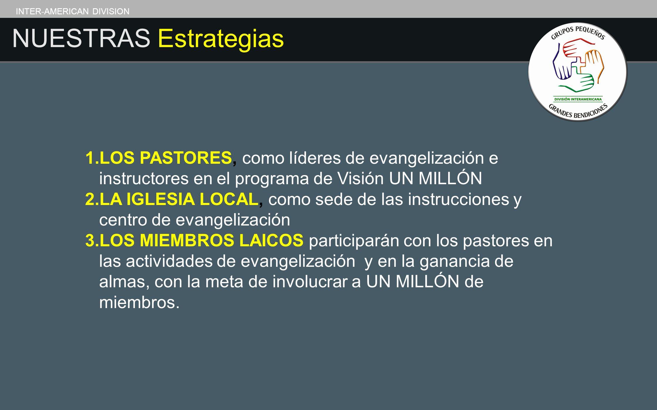 INTER-AMERICAN DIVISION NUESTRAS Estrategias 1.LOS PASTORES, como líderes de evangelización e instructores en el programa de Visión UN MILLÓN 2.LA IGL