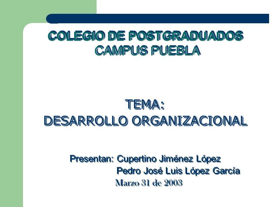 COLEGIO DE POSTGRADUADOS CAMPUS PUEBLA TEMA: DESARROLLO ORGANIZACIONAL Presentan: Cupertino Jiménez López Pedro José Luis López García Marzo 31 de 200