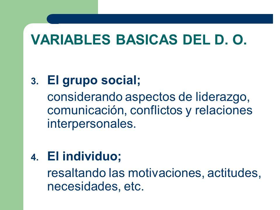 VARIABLES BASICAS DEL D. O. 3. El grupo social; considerando aspectos de liderazgo, comunicación, conflictos y relaciones interpersonales. 4. El indiv