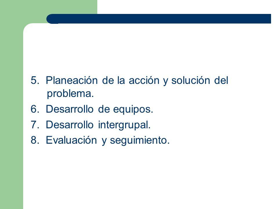 5. Planeación de la acción y solución del problema. 6. Desarrollo de equipos. 7. Desarrollo intergrupal. 8. Evaluación y seguimiento.