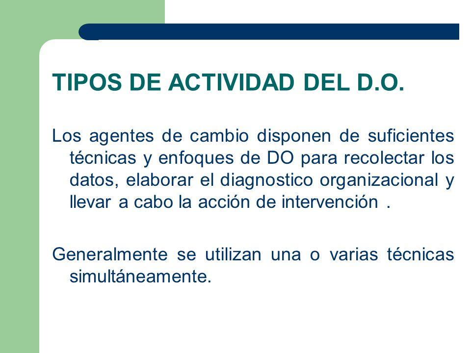 TIPOS DE ACTIVIDAD DEL D.O. Los agentes de cambio disponen de suficientes técnicas y enfoques de DO para recolectar los datos, elaborar el diagnostico