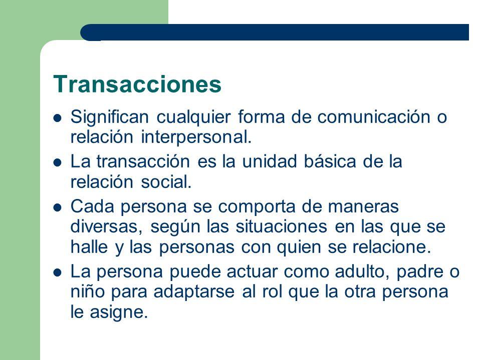 Transacciones Significan cualquier forma de comunicación o relación interpersonal. La transacción es la unidad básica de la relación social. Cada pers