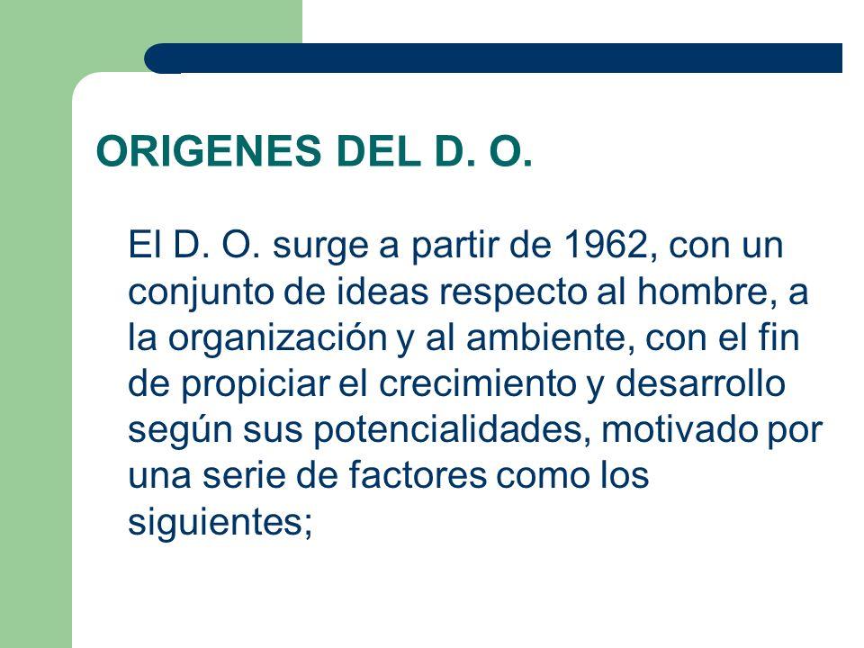 ORIGENES DEL D. O. El D. O. surge a partir de 1962, con un conjunto de ideas respecto al hombre, a la organización y al ambiente, con el fin de propic