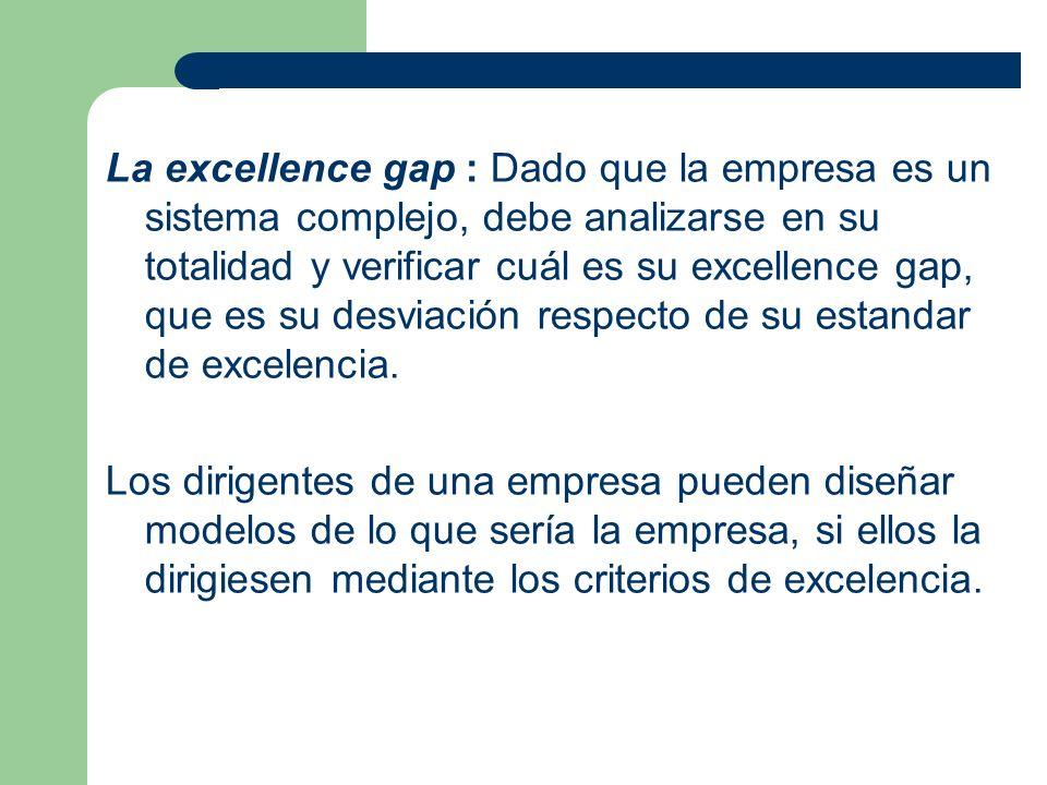 La excellence gap : Dado que la empresa es un sistema complejo, debe analizarse en su totalidad y verificar cuál es su excellence gap, que es su desvi