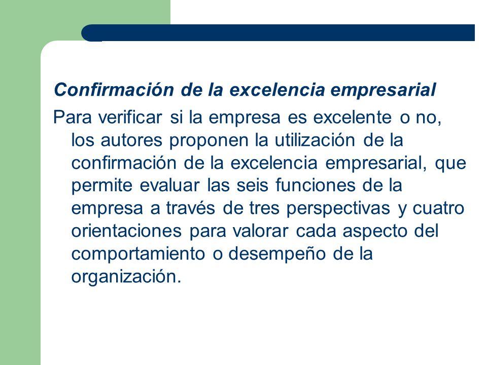 Confirmación de la excelencia empresarial Para verificar si la empresa es excelente o no, los autores proponen la utilización de la confirmación de la