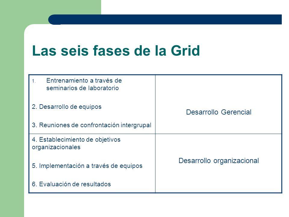 Las seis fases de la Grid 1. Entrenamiento a través de seminarios de laboratorio 2. Desarrollo de equipos 3. Reuniones de confrontación intergrupal De