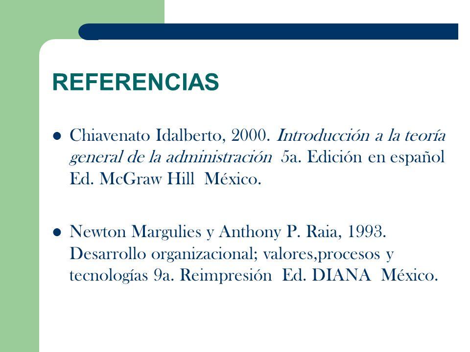 REFERENCIAS Chiavenato Idalberto, 2000. Introducción a la teoría general de la administración 5a. Edición en español Ed. McGraw Hill México. Newton Ma