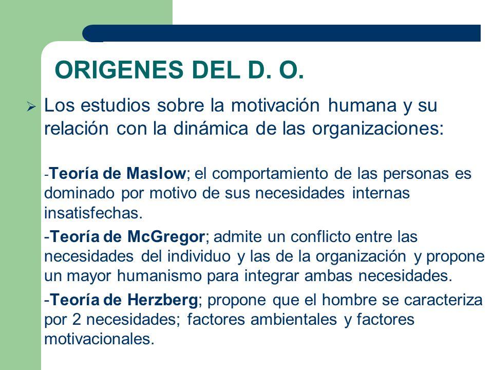ORIGENES DEL D. O. Los estudios sobre la motivación humana y su relación con la dinámica de las organizaciones: - Teoría de Maslow; el comportamiento