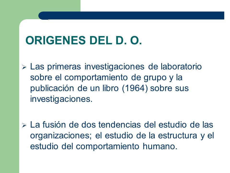 ORIGENES DEL D. O. Las primeras investigaciones de laboratorio sobre el comportamiento de grupo y la publicación de un libro (1964) sobre sus investig