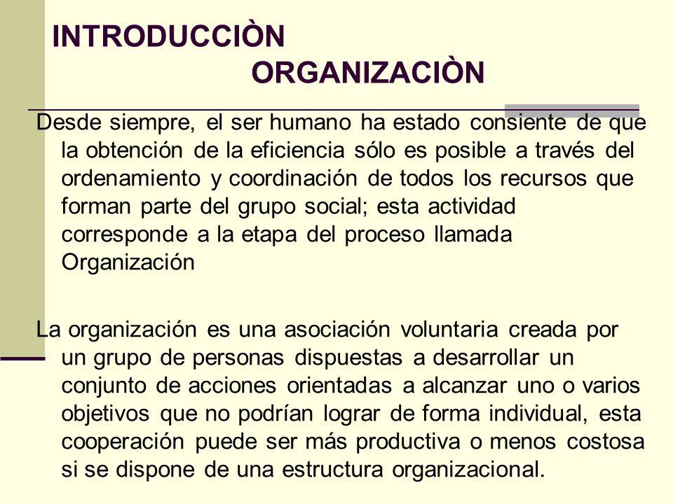 La palabra organización tiene tres acepciones: una etimológica que proviene del griego organón que significa instrumento; otra que se refiere a la organización como una entidad o grupo social; y otra más que se refiere a la organización como un proceso.