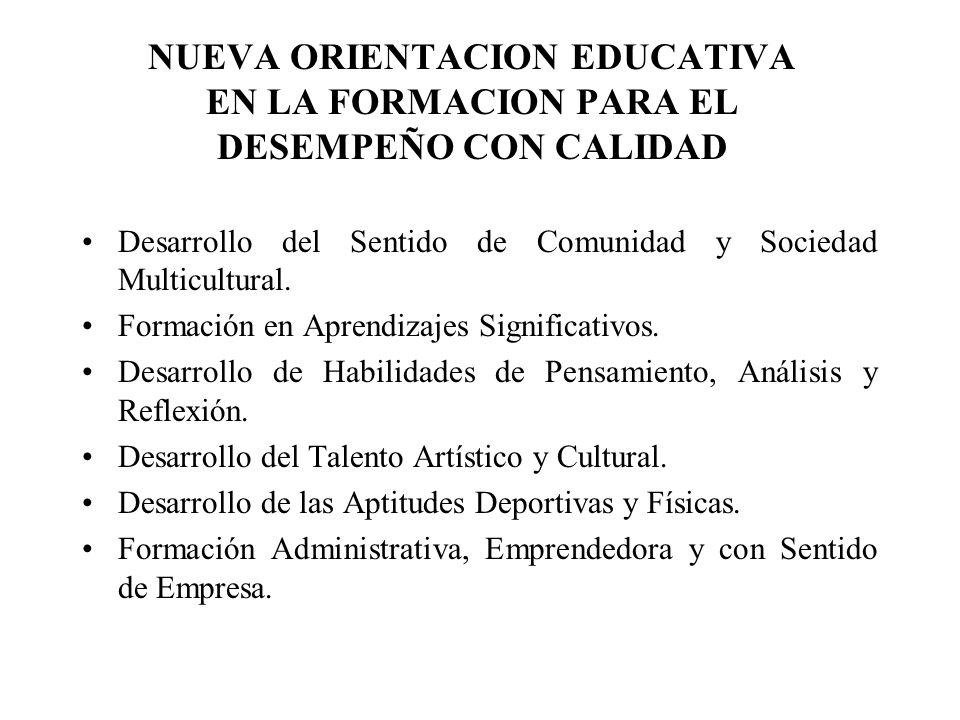 Continúa: Nueva Orientación Educativa....Formación de Líderes y de Trabajo en Equipo.