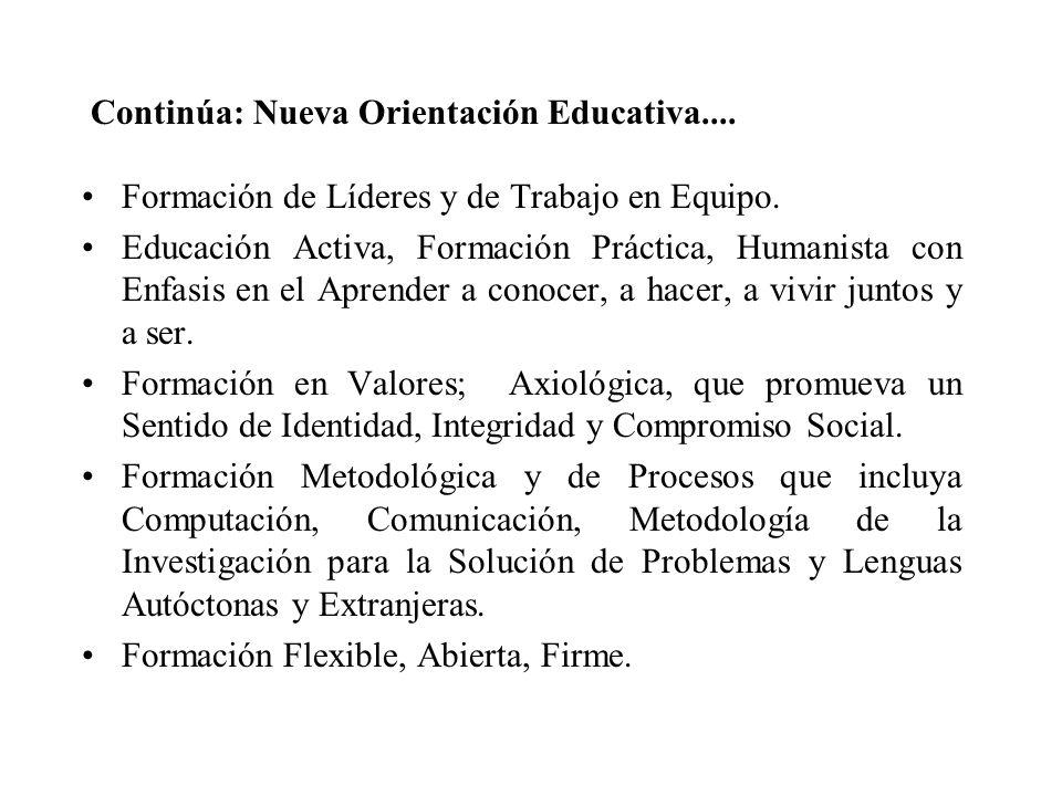 Continúa: Nueva Orientación Educativa.... Formación de Líderes y de Trabajo en Equipo. Educación Activa, Formación Práctica, Humanista con Enfasis en