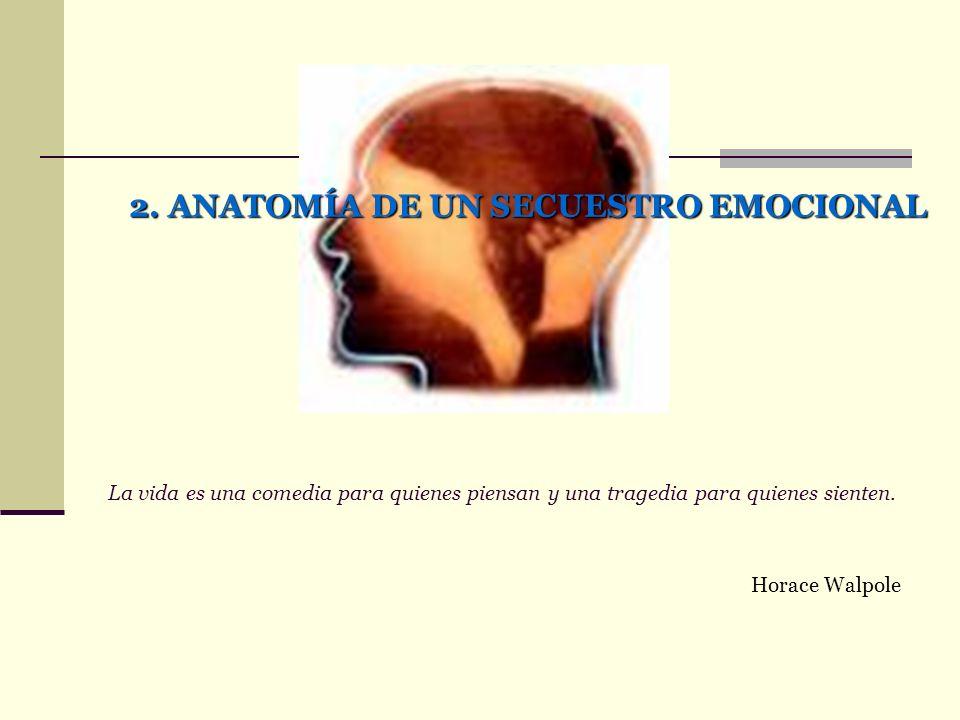 2. ANATOMÍA DE UN SECUESTRO EMOCIONAL La vida es una comedia para quienes piensan y una tragedia para quienes sienten. Horace Walpole