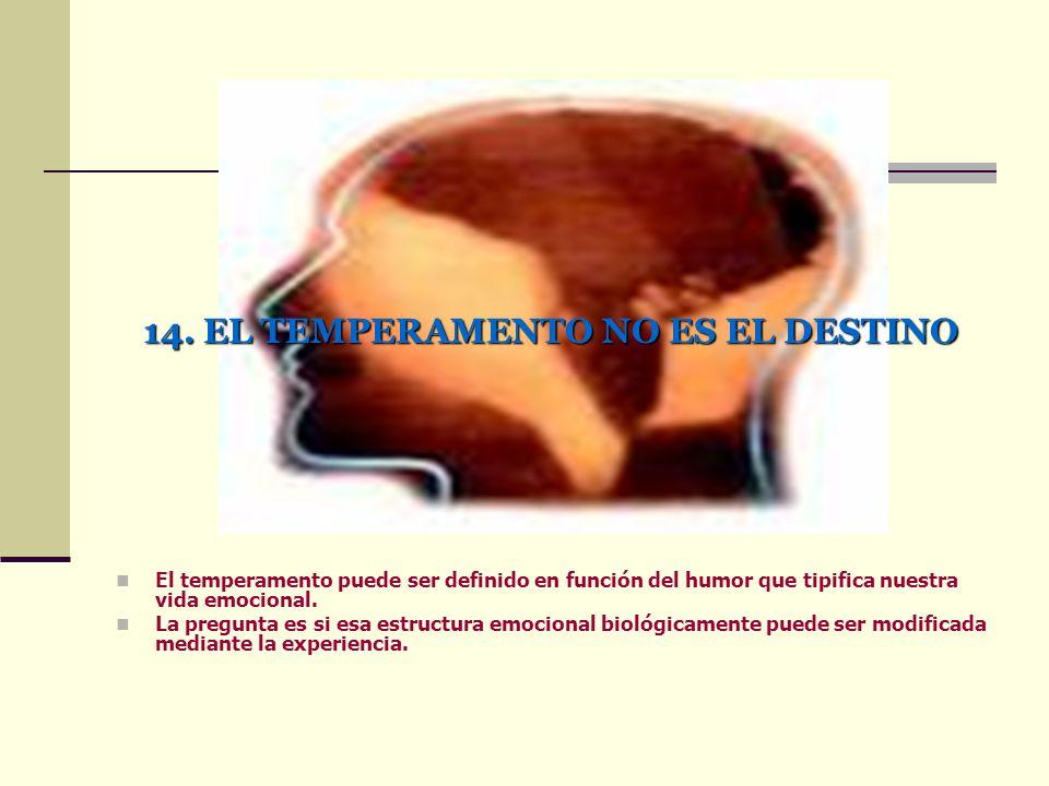 14. EL TEMPERAMENTO NO ES EL DESTINO El temperamento puede ser definido en función del humor que tipifica nuestra vida emocional. La pregunta es si es