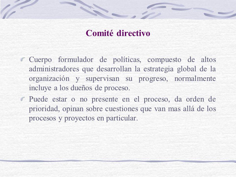 Comité directivo Cuerpo formulador de políticas, compuesto de altos administradores que desarrollan la estrategia global de la organización y supervis