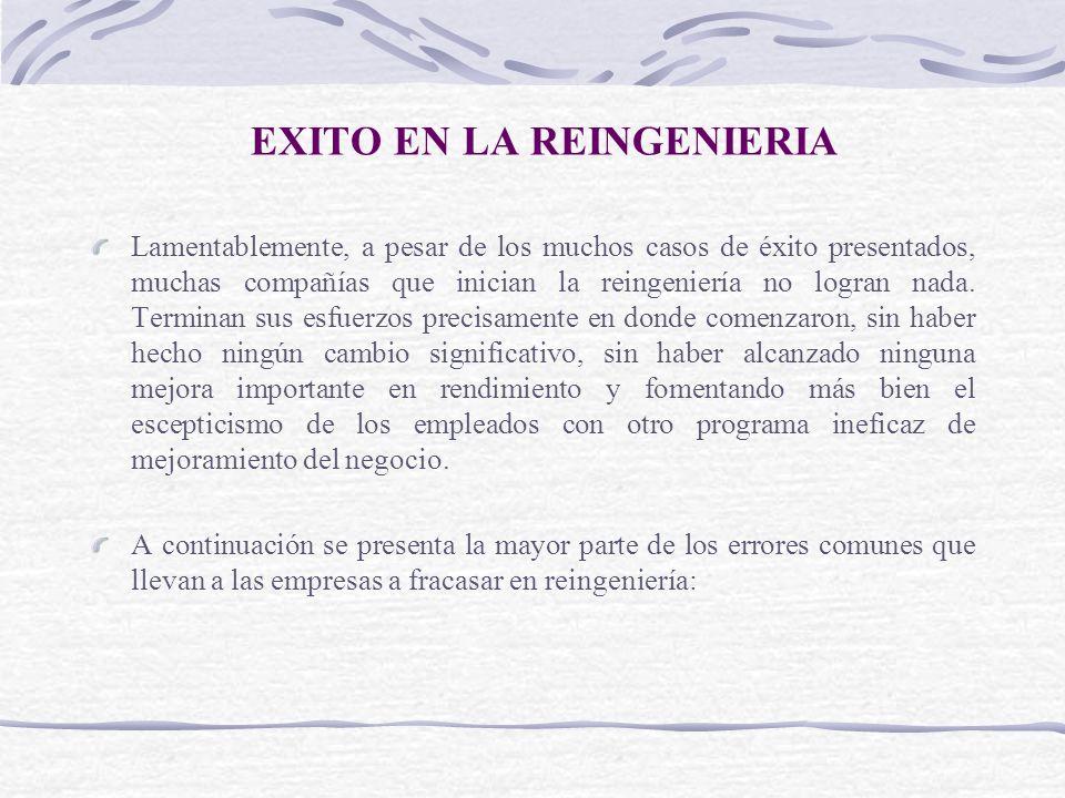 EXITO EN LA REINGENIERIA Lamentablemente, a pesar de los muchos casos de éxito presentados, muchas compañías que inician la reingeniería no logran nad
