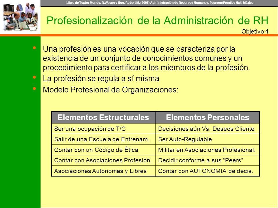 Libro de Texto: Mondy, R.Wayne y Noe, Robert M. (2005) Administración de Recursos Humanos. Pearson/Prentice Hall. México Objetivo Profesionalización d