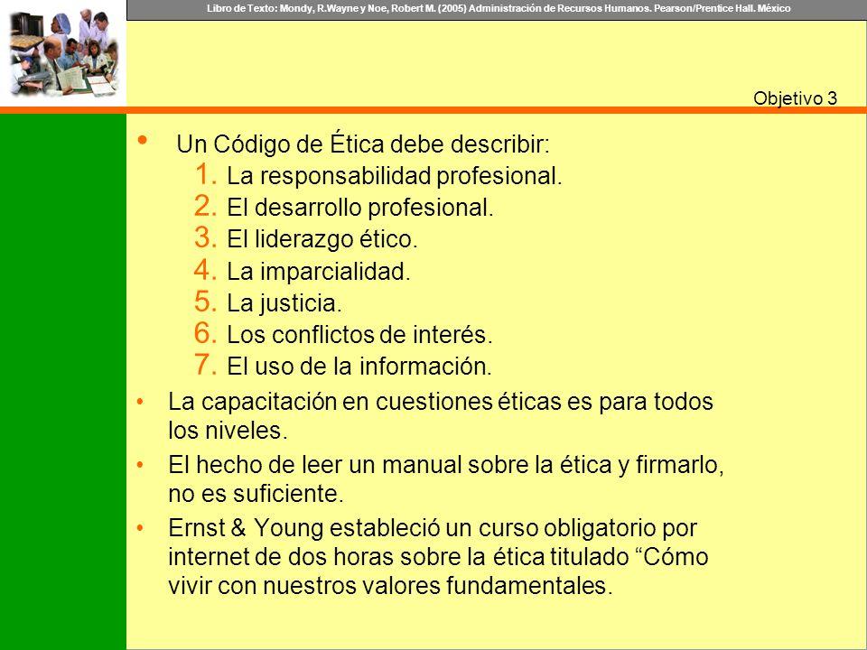 Libro de Texto: Mondy, R.Wayne y Noe, Robert M. (2005) Administración de Recursos Humanos. Pearson/Prentice Hall. México Objetivo Un Código de Ética d