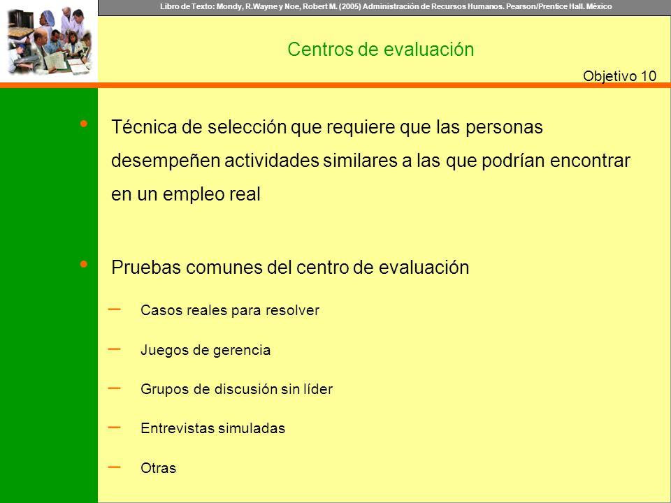 Libro de Texto: Mondy, R.Wayne y Noe, Robert M. (2005) Administración de Recursos Humanos. Pearson/Prentice Hall. México Objetivo Centros de evaluació
