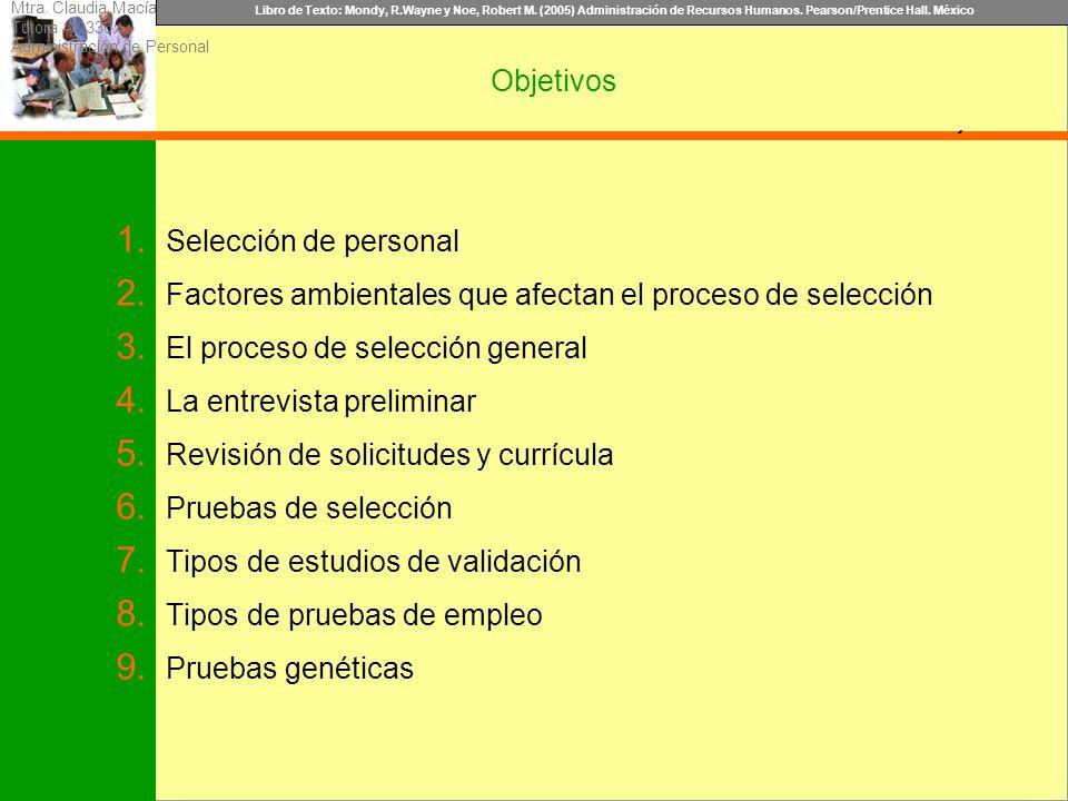 Libro de Texto: Mondy, R.Wayne y Noe, Robert M. (2005) Administración de Recursos Humanos. Pearson/Prentice Hall. México Objetivo Objetivos 1. Selecci